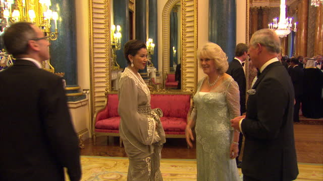 prince charles camilla greet guests at buckingham palace on may 18 2012 in london england - palace stock-videos und b-roll-filmmaterial