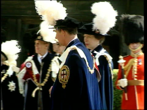 prince charles camilla parker bowles to attend celebrity dinner lib ext queen elizabeth ii along in procession with prince philip as attend service... - camilla duchess of cornwall stock videos and b-roll footage