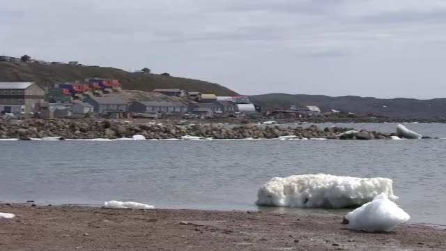 Prince Charles climate change warning at start of royal tour CANADA Nunavut VIEWs / AERIALs ice floes and barren island archipelagos in Nunavut...