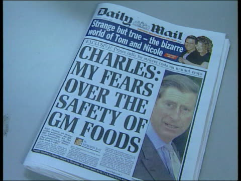 prince charles comments; genetically modified food: prince charles comments; itn england: london: gir: int daily mail headlined with article about... - デイリーメール点の映像素材/bロール