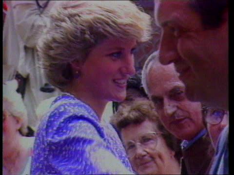 part 1 prince charles brixton visit 143586 england london brixton ext / int prince and dianaprincess of wales along on walkabout / prince charles... - 1987 stock videos & royalty-free footage