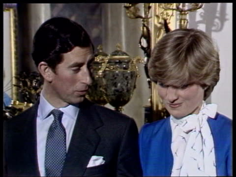 part 1 prince charles engagement interview 108556 england london int prince charles and lady diana spencer interview after the announcement of their... - fidanzamento video stock e b–roll