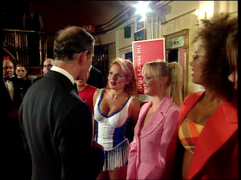 vídeos de stock e filmes b-roll de part 1 prince charles meets the spice girls t09059722 england manchester int prince charles meeting the spice girls and posing for photocall - spice girls