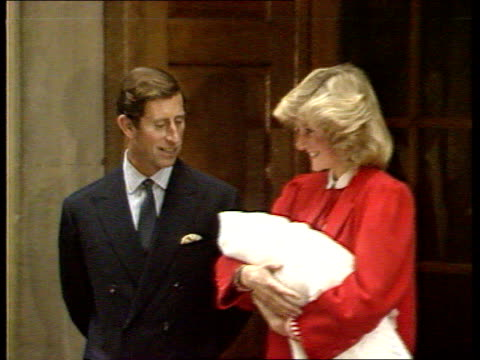 part 1 prince harry born england london ext press outside hospital / prince charles diana princess of wales and prince harry from hospital into car... - 1984 stock-videos und b-roll-filmmaterial