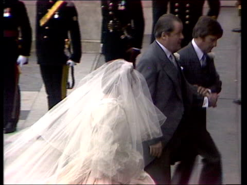 Part 1 The Royal Wedding ENGLAND London EXT / INT Carriage carrying Queen Elizabeth II and Prince Philip leaving Buckingham Palace / Prinmce Charles...