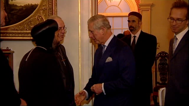 prince charles condemns persecution of christians in middle east lib / photography** various shots of charles chatting to religious leaders at... - archbishop of canterbury stock videos and b-roll footage