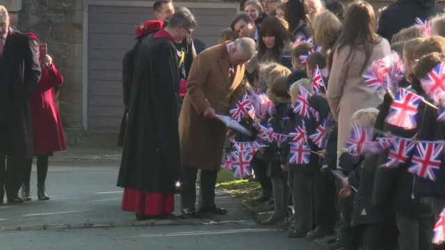 arrival at durham cathedral england county durham durham ext prince charles prince of wales arriving at durham cathedral and towards with the very... - イングランド ダラム点の映像素材/bロール