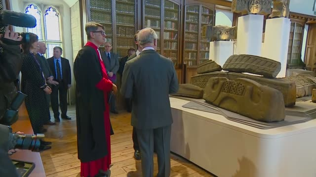 visit to open treasure visitor experience england county durham durham cathedral open treasure visitor experience int prince charles prince of wales... - イングランド ダラム点の映像素材/bロール