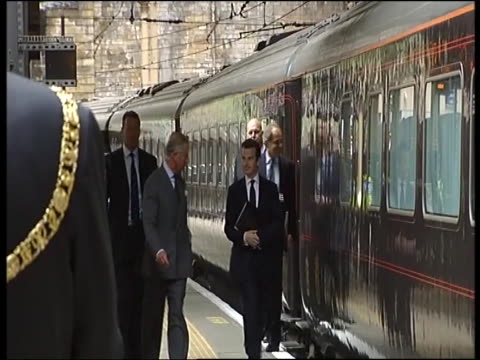 prince charles exits royal train at the beginning of tour of britain to promote his 'sustainable living' inititaitve - tour of britain stock videos & royalty-free footage