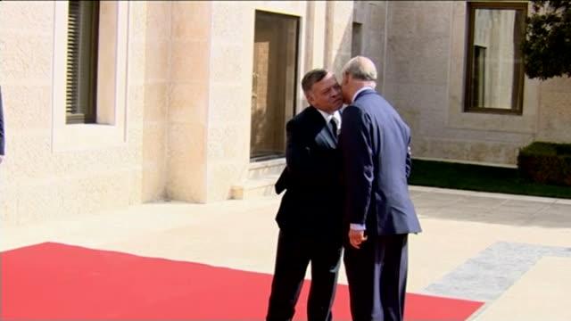 Prince Charles expresses alarm at radicalisation of some British Muslims JORDAN Amman EXT Prince Charles Prince of Wales along red carpet past...