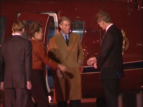 prince charles flies into heathrow aboard royal helicopter ready to welcome us president bush who was due to arrive shortly on a state visit to the... - prince royal person stock videos & royalty-free footage