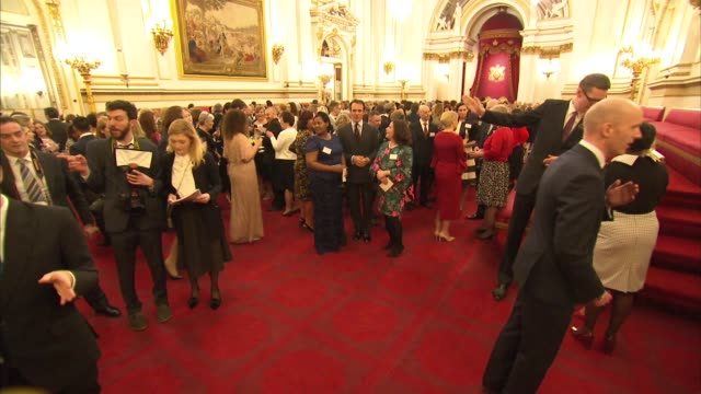 prince charles hosts nursing reception at buckingham palace; england: london: buckingham palace: int sophie, countess of wessex chatting to nursing... - sophie rhys jones, countess of wessex stock videos & royalty-free footage