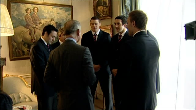 prince charles hosts reception for wales national union rugby team; more of prince charles chatting to members of wales rugby union squad sot music... - wales stock videos & royalty-free footage