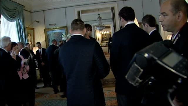 prince charles hosts reception for wales national union rugby team; various of prince charles chatting with jones and other members of the welsh... - wales stock videos & royalty-free footage