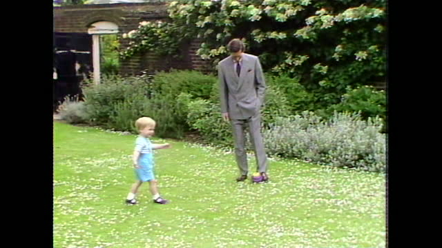 prince charles kicks a ball around as two-year-old prince william follows him during a photocall in kensington palace gardens. - child stock videos & royalty-free footage