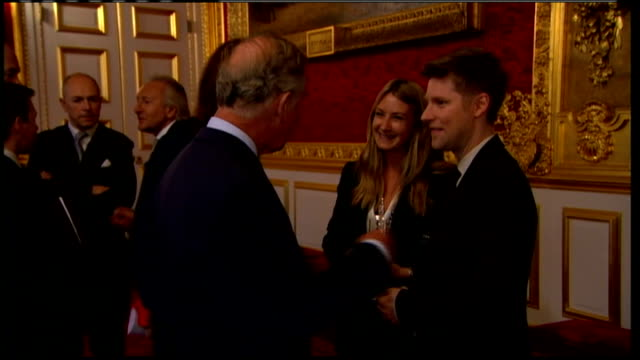 vídeos y material grabado en eventos de stock de prince charles launches fashion exhibition london collections men england london st james's palace poor sound quality prince charles meeting people... - palace room