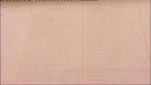 prince charles lays first wreath at the national memorial arboretum; england: staffordshire: near lichfield: national memorial arboretum: ext various... - スタッフォードシャー リッチフィールド点の映像素材/bロール