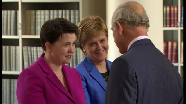 prince charles leaving cathedral and meeting scottish leaders; leader of liberal democrats in scotland willie rennie standing with sturgeon, davidson... - nicola sturgeon stock videos & royalty-free footage
