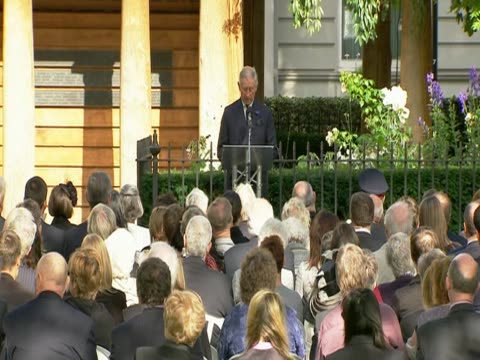 vídeos y material grabado en eventos de stock de prince charles makes a speech for the 10th anniversary of the 9/11 terrorist attacks in new york city at a remembrace event in grovesnor square to... - number 9