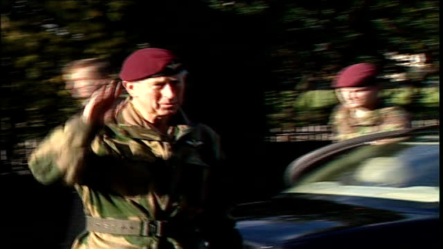 Essex Colchester Hydrabad Barracks EXT Prince Charles Prince of Wales and his wife Camilla Duchess of Cornwall out of car and greeted by commanders...