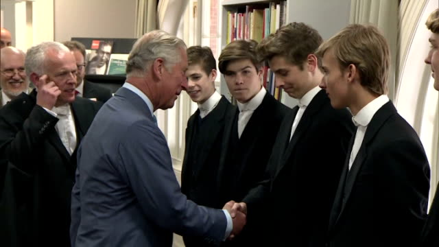 vídeos de stock, filmes e b-roll de prince charles meeting faculty and students at eton college a collection of egyptian artefacts held by eton college has been made available for... - realeza britânica