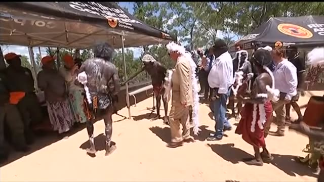Prince Charles meets Aboriginal community in the Northern Territory AUSTRALIA Northern Territory Arnhem Land EXT **Music heard SOT** Prince Charles...