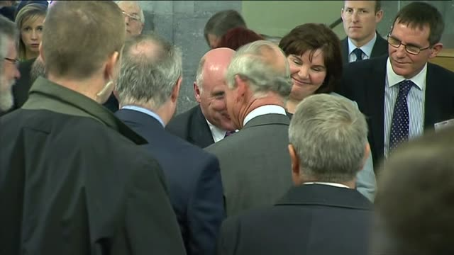 prince charles meets gerry adams; republic of ireland: galway: int prince charles, the prince of wales shaking hands with gerry adams and chatting... - human stage stock videos & royalty-free footage