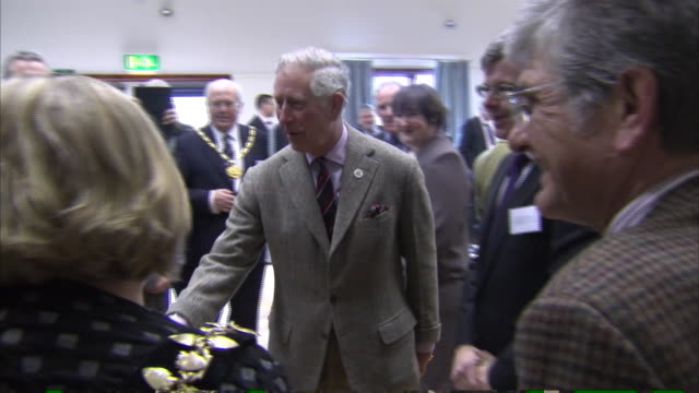 prince charles meets with local councillors at a local hall in the somerset town of stoke st gregory during his tour of the flood affected somerset... - somerset levels stock videos and b-roll footage