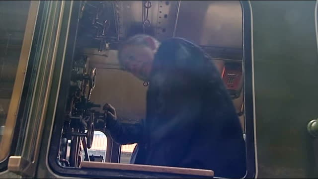 prince charles names steam engine charles talking to man / charles getting on train / charles in engine driver's compartment / steam train emitting... - emitting stock videos & royalty-free footage
