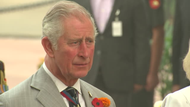 prince charles observing a silence in memory of fallen soldiers at the india gate new delhi - 戦争記念碑点の映像素材/bロール