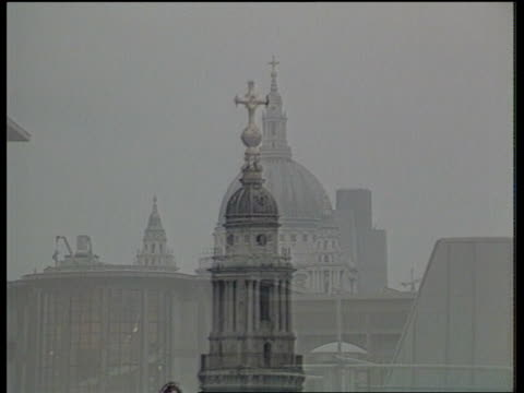 prince charles on architecture **** rushes kept london st paul's catheral ext gv st paul's dome as surrounded by modern buildings dissolves to ms... - architecture stock videos & royalty-free footage