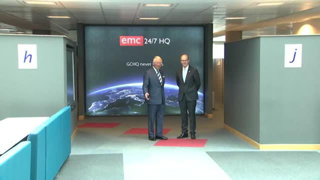 prince charles on visit to gchq headquarters cheltenham - cheltenham stock videos & royalty-free footage