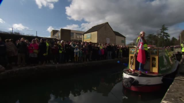 Prince Charles opens first phase of restored Cotswold Canals ENGLAND Gloucestershire Stroud Wallbridge EXT Prince Charles arriving and meeting people...