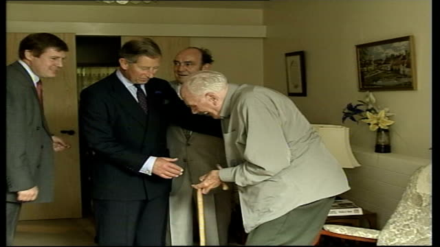 prince charles opens sheltered housing scheme in basildon.; anglia pool england: essex: basildon: ext gv car along, prince of wales out of car &... - basildon stock-videos und b-roll-filmmaterial