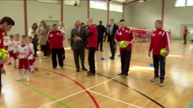prince charles opens sports centre in ayr. shows interior shots children taking shots at goal & prince charles talking with coaches. on april 29,... - ayr stock videos & royalty-free footage