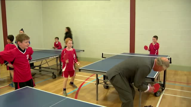 prince charles opens sports centre in ayr. shows interior shots prince charles playing table tennis with boys in sports centre. on april 29, 2015 in... - ayr stock videos & royalty-free footage
