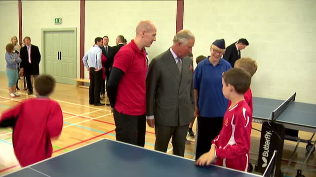 prince charles opens sports centre in ayr. shows interior shots prince charles speaking to young table tennis players inside sports centre. on april... - ayr stock videos & royalty-free footage