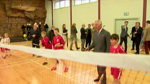 prince charles opens sports centre in ayr. shows interior shots prince charles playing badminton with children in sports centre. on april 29, 2015 in... - ayr stock videos & royalty-free footage