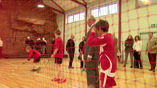prince charles opens sports centre in ayr. shows interior shots prince charles playing badminton with children before giving back racquet. on april... - ayr stock videos & royalty-free footage