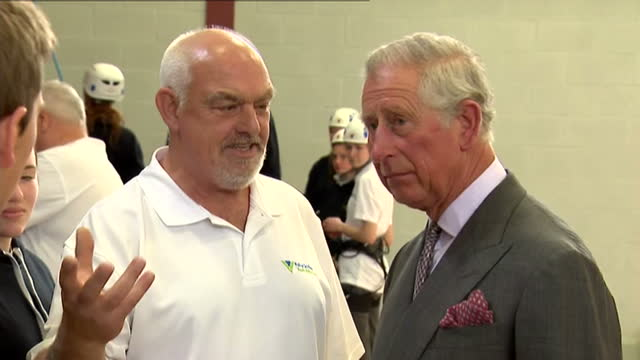 prince charles opens sports centre in ayr. shows interior shots prince charles talking with people involved in developing & teaching at the sports... - ayr stock videos & royalty-free footage