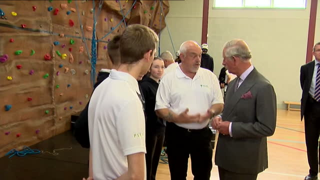 prince charles opens sports centre in ayr. shows interior shots prince charles talks with people involved in the new sports centre. on april 29, 2015... - ayr stock videos & royalty-free footage