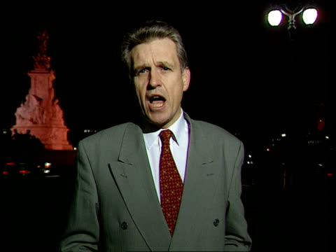 prince charles popularity; london: buckingham palace: night owen i/c *ends abruptly* tx 10.1.97/nat nat - adulation stock videos & royalty-free footage