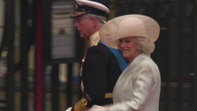 prince charles prince of wales and camilla duchess of cornwall arrive at the royal wedding at the assorted royal wedding footage ntsc hd at london... - camilla duchess of cornwall stock videos and b-roll footage