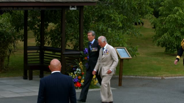 prince charles, prince of wales and camilla, duchess of cornwall arrive to attend the national service of remembrance marking the 75th anniversary of... - national memorial arboretum stock videos & royalty-free footage