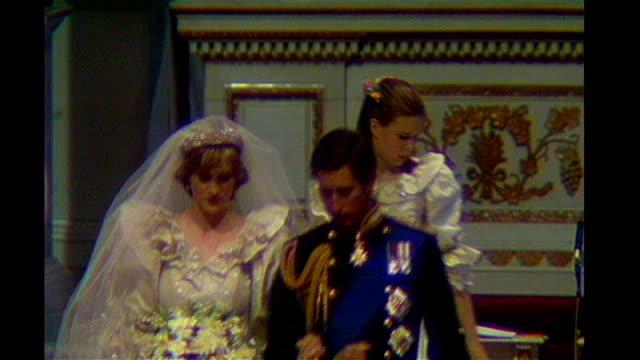 Prince Charles Prince of Wales and Princess Diana down aisle on wedding day