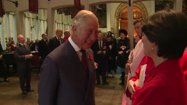 prince charles prince of wales at remembrance sunday service at the guards' chapel on november 13 2016 in london england - remembrance sunday stock videos and b-roll footage