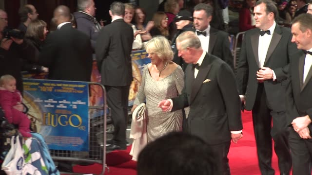 prince charles prince of wales camilla duchess of cornwall royal film performance of 'hugo' at odeon leicester square on november 28 2011 in london... - odeon leicester square stock videos and b-roll footage