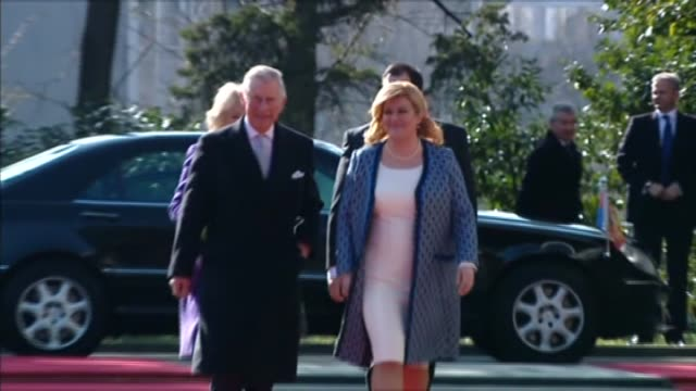prince charles prince of wales is officially welcomed by croatian president kolinda grabarkitarovic as he and camilla duchess of cornwall arrive for... - zagreb stock videos & royalty-free footage