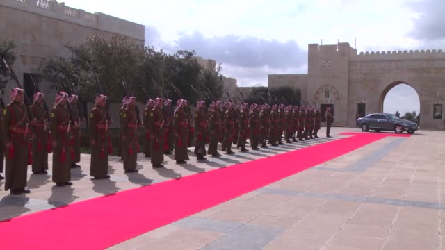 Prince Charles Prince of Wales is welcomed by King Abdullah II of Jordan with an official welcoming ceremony at the royal Raghadan Palace in Amman...