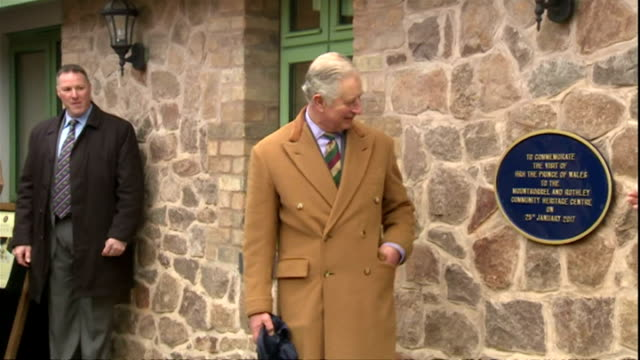 prince charles prince of wales paid a visit to mountsorrel railway and rothley community heritage centre in rothley shows prince charles unveiling... - principe carlo principe del galles video stock e b–roll
